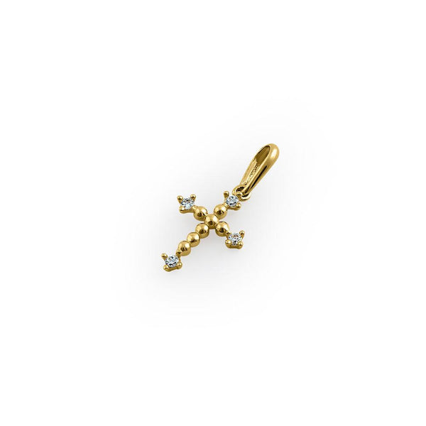 Solid 14K Yellow Gold Cross CZ Pendant