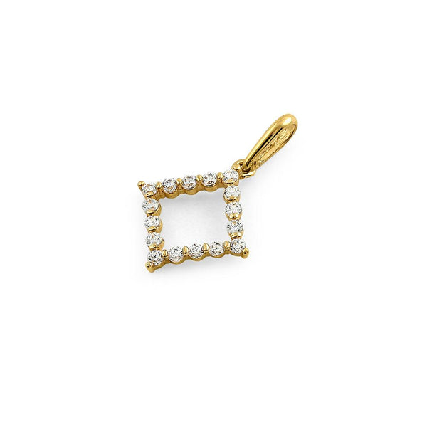 Solid 14K Yellow Gold Outline Diamond Shaped CZ Pendant