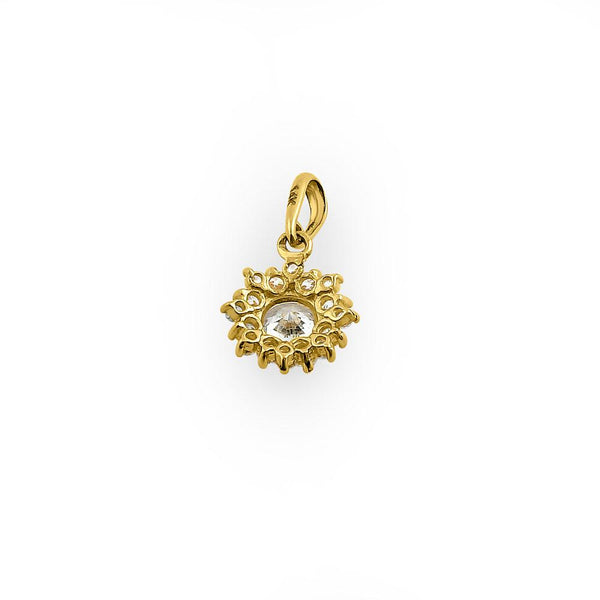 Solid 14K Yellow Gold Star Round Halo CZ Pendant