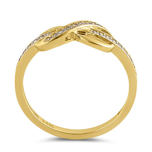 Solid 14K Gold CZ Infinity Ring