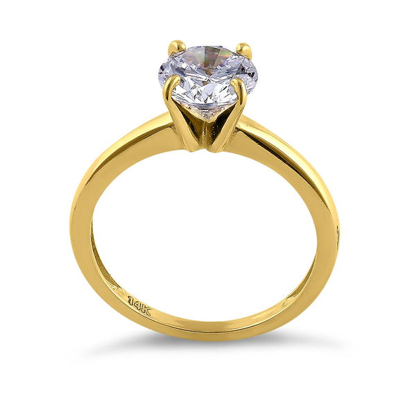 Solid 14K Yellow Gold Solitaire Round CZ Engagement Ring