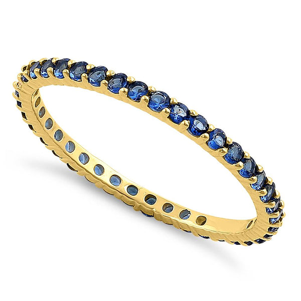 Solid 14K Yellow Gold Eternity Blue Sapphire CZ Ring