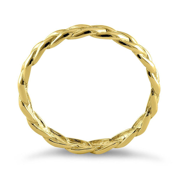 Solid 14K Yellow Gold Braided Eternity Band
