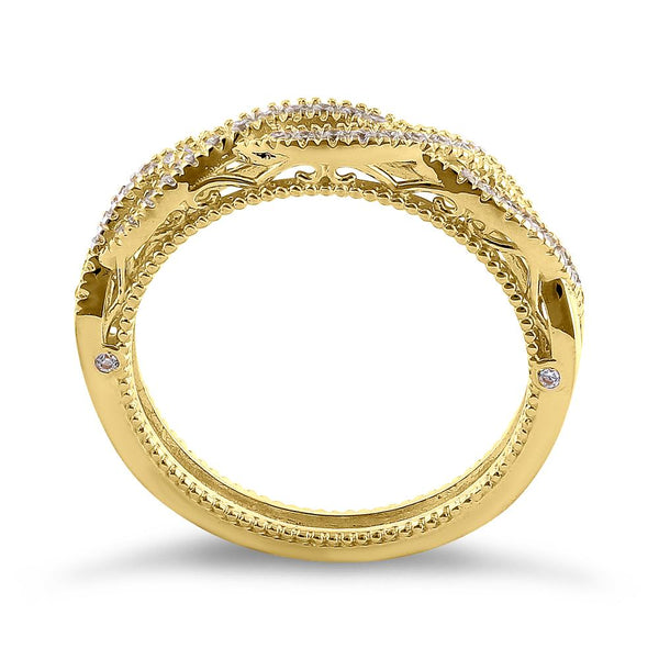 Solid 14K Yellow Gold Classic Twist CZ Ring