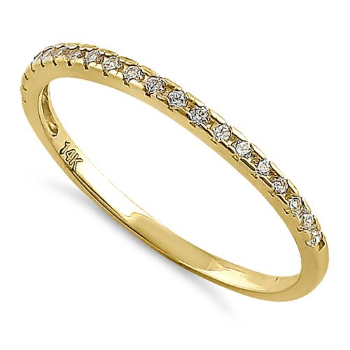 Solid 14K Yellow Gold Classic Half Eternity Round CZ Ring