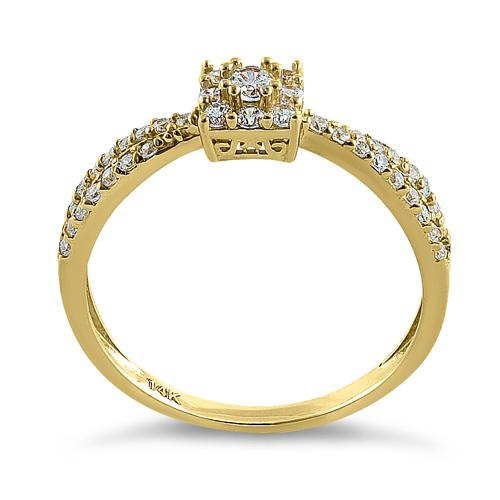 Solid 14K Yellow Gold Modern Square Round CZ Ring