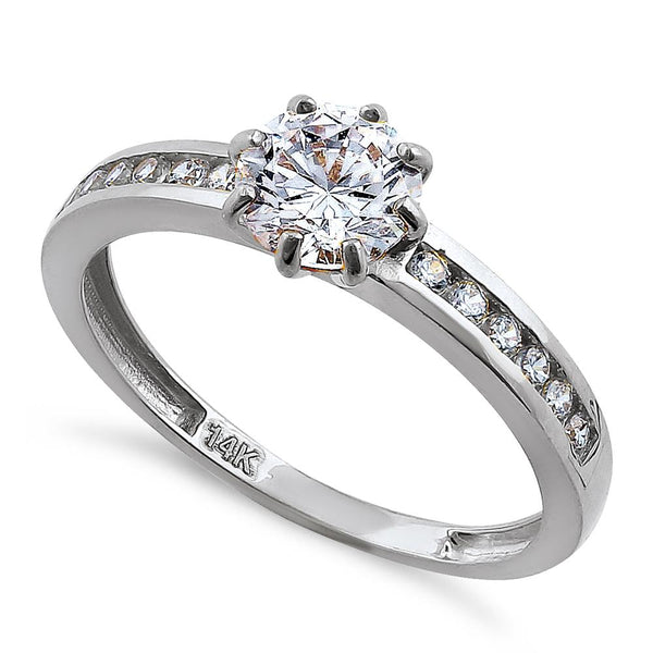 Solid 14K White Gold Round Cut CZ Engagement Ring