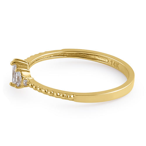 Solid 14K Gold Marquise Clear CZ Engagement Ring