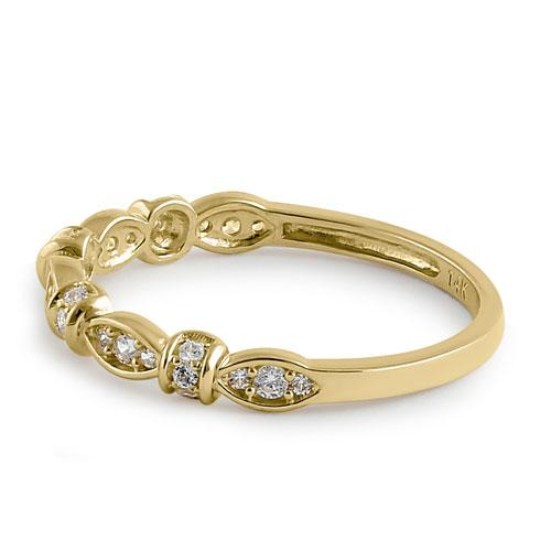 Solid 14K Yellow Gold Half Eternity Round Marquise CZ Ring