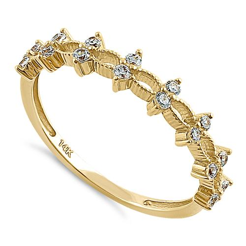 Solid 14K Yellow Gold Double Round Clear CZ Ring