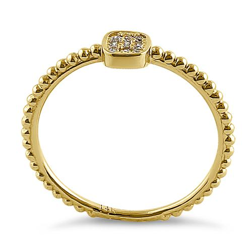 Solid 14K Yellow Gold Modern Abstract Round CZ Ring