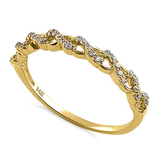 Solid 14K Yellow Gold Half Eternity Twist Round CZ Ring