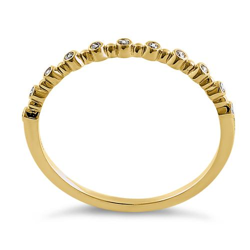 Solid 14K Yellow Gold Half Eternity Round CZ Ring
