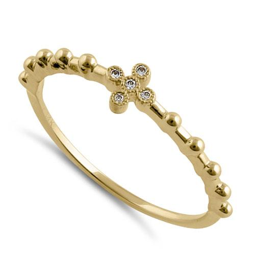 Solid 14K Yellow Gold Cross Bead CZ Ring