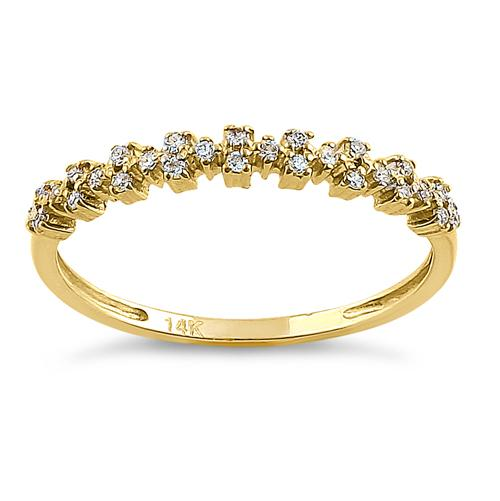 Solid 14K Yellow Gold Cluster Pattern Round CZ Ring