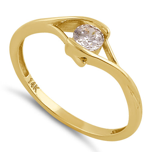 Solid 14K Gold Clear CZ Ring