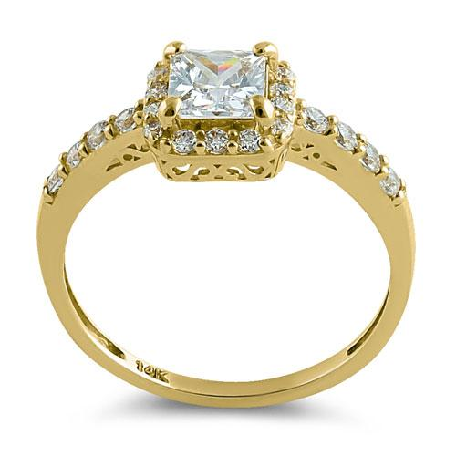 Solid 14K Gold Princess Halo CZ Ring