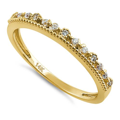 Solid 14K Yellow Gold Half Eternity Abstract Round CZ Ring