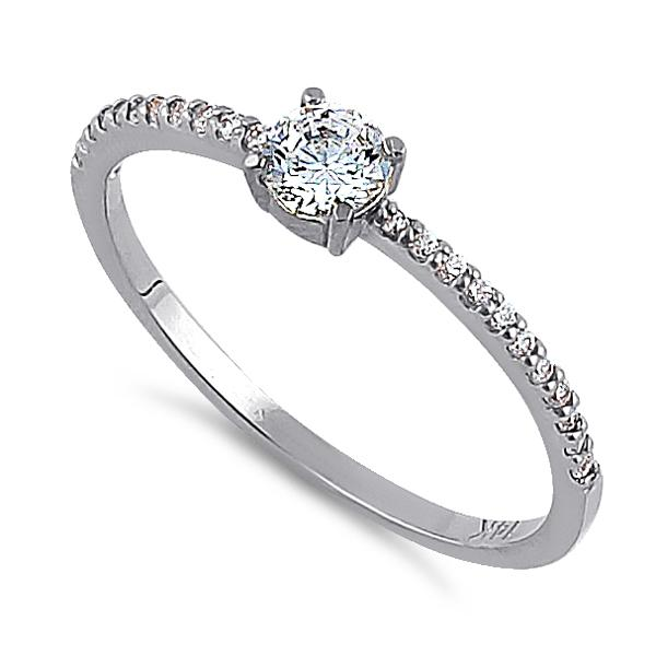 Solid 14K White Gold Round 4mm Clear CZ Ring