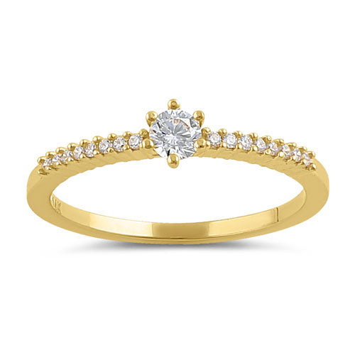 Solid 14K Gold Clear CZ Engagement Ring