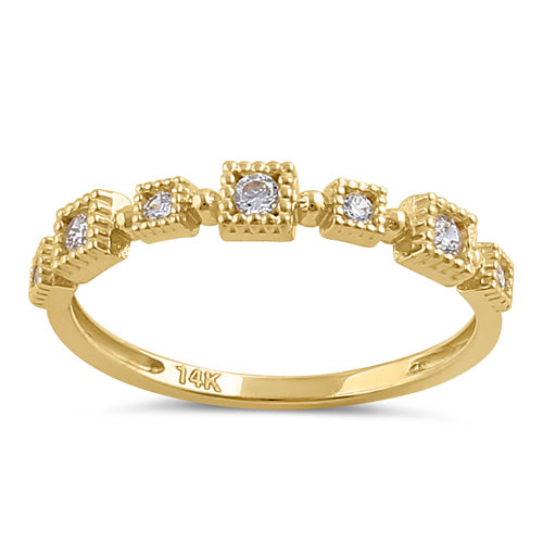 Solid 14K Gold Sqare Pattern CZ Ring