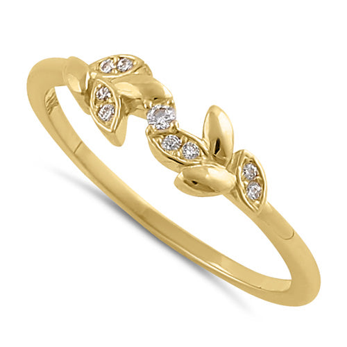 Solid 14K Gold Trendy Leaf CZ Ring
