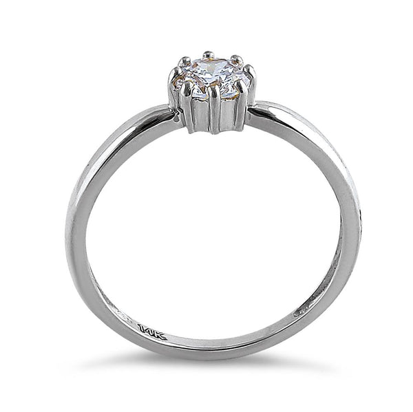 Solid 14K White Gold Solitaire Round Cut CZ Engagement Ring
