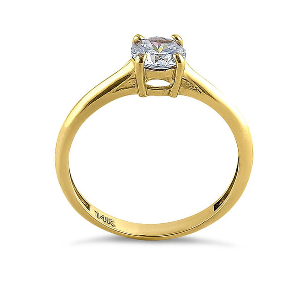Solid 14K Yellow Gold Solitaire Round Cut CZ Engagement Ring