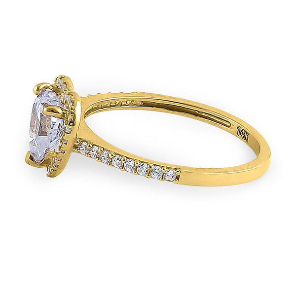 Solid 14K Yellow Gold Heart Cut Halo CZ Ring