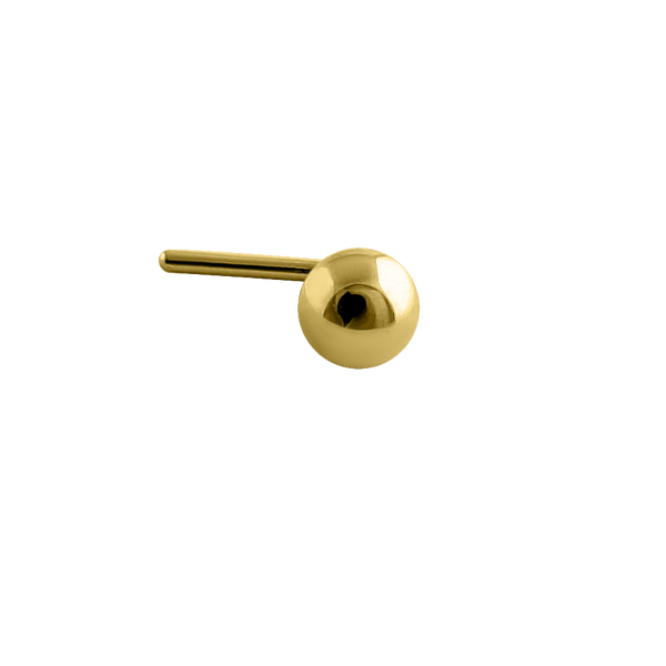 Solid 14K Yellow Gold Plain Round Nose Stud