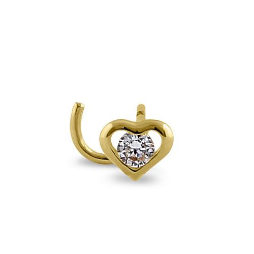 Solid 14K Yellow Gold Mini Heart CZ Nose Stud