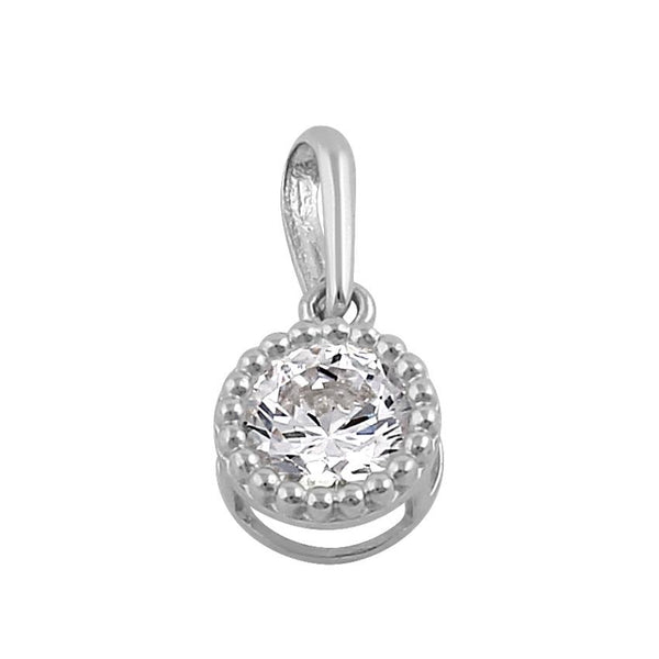 Solid 14K White Gold 6MM Round CZ Pendant