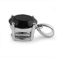 Sterling Silver 10MM Round Black CZ Pendant