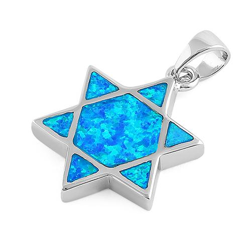 Sterling Silver Blue Lab Opal Star of David Pendant