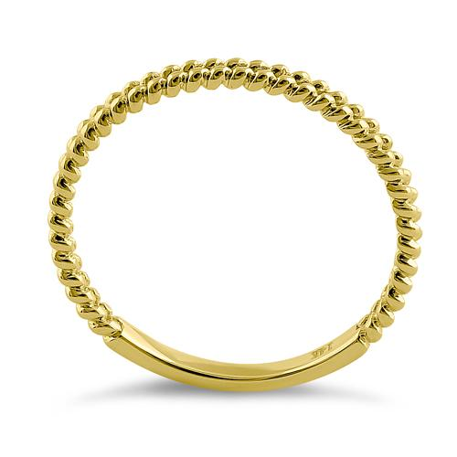 Solid 14K Yellow Gold Double Beaded Ring