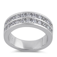 Sterling Silver Clear CZ Double Row Wedding Band