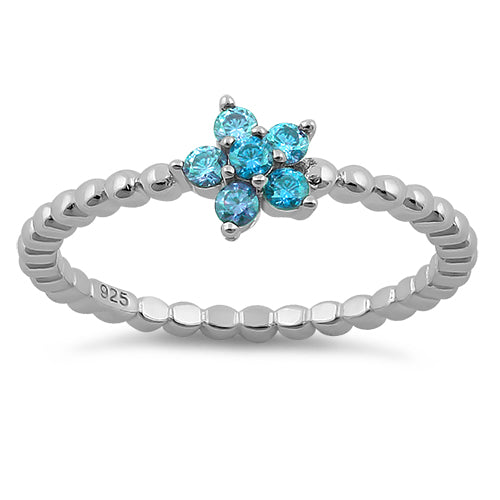 Sterling Silver Beaded Blue Topaz Plumeria Flower CZ Ring
