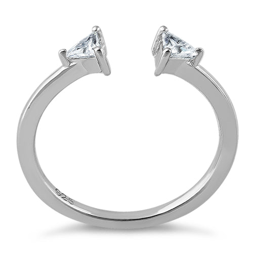 Sterling Silver Double Triangle Cut Clear CZ Ring