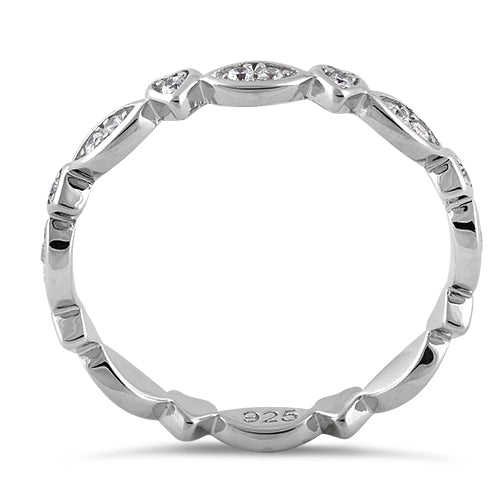 Sterling Silver Eternity Heart & Oval Clear CZ Ring