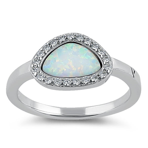 Sterling Silver Offset White Lab Opal and Clear CZ Ring