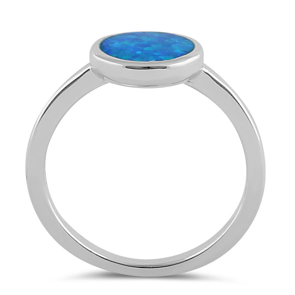 Sterling Silver Simple Round Blue Opal Ring