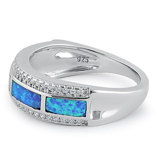 Sterlig Silver Elegant Blue Lab Opal Clear CZ Band Ring