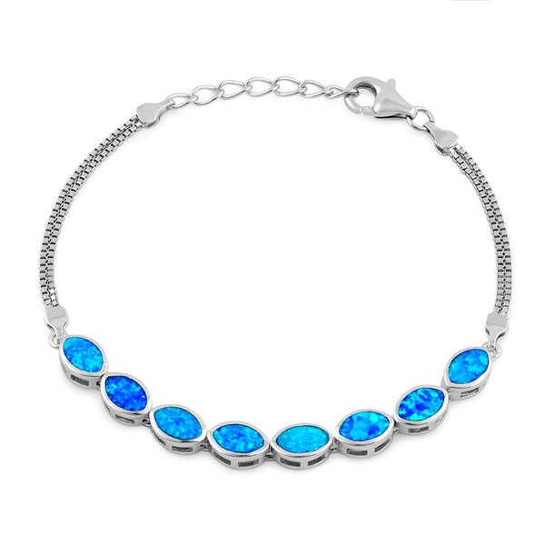 Sterling Silver Blue Lab Opal 7.0mm x 4.5mm Marquise with Box Chain Bracelet