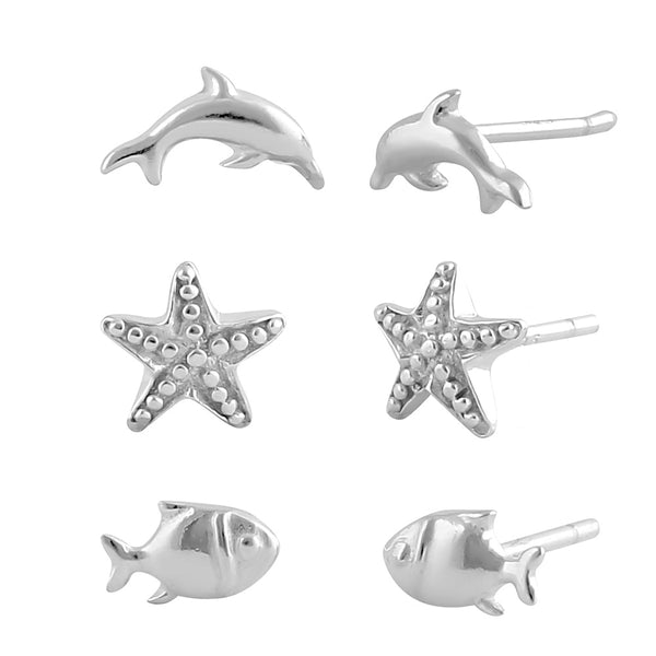 Sterling Silver Starfish & Dophin Stud Earrings