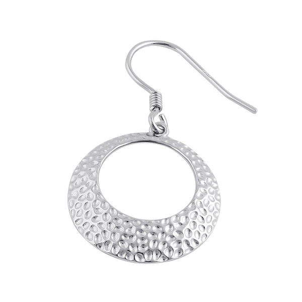 Sterling Silver Round Hammered 19.5mm Dangle Earrings