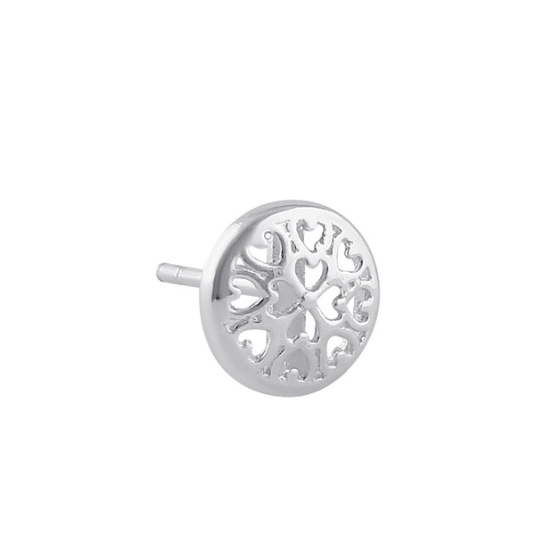 Sterling Silver Heart Filled Circle Stud Earrings
