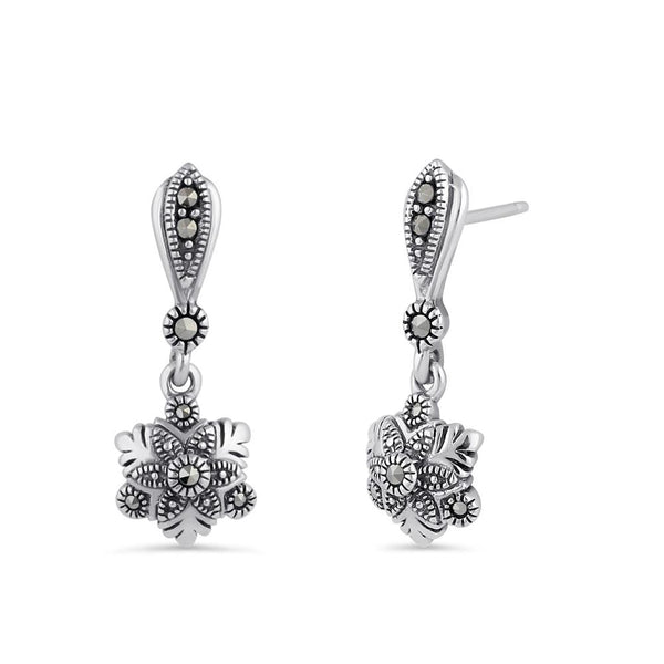 Sterling Silver Snowflake Marcasite Dangle Earrings