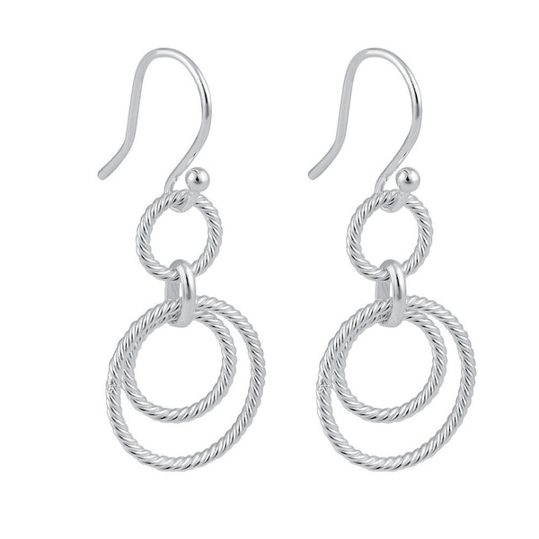Sterling Silver Circular Rope Links Dangle Earrings