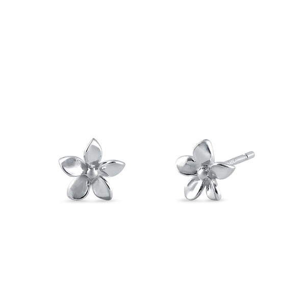 Sterling Silver Plumeria Earrings
