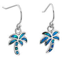 Sterling Silver Lab Opal Palm Tree Dangle Earrings